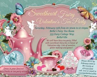 Fairy Tea Party Invitation, Birthday Tea Party, Tea Party, Garden Tea Party, Fairy Invitations, Valentine Fairy