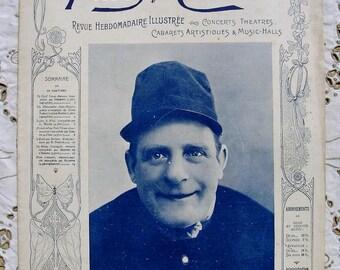 Antique Art Nouveau French Music Hall / Theatre Magazine with Piano Sheet Music - Paris Qui Chante (Paris Singing)
