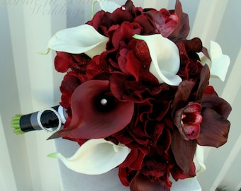 Real touch Wedding Bouquet - Brides bouquet red white calla lily orchid - Burgundy bridal bouquet