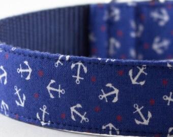 Blue Anchor Dog Collar