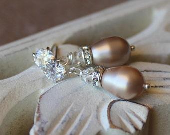 Almond Blush Stud Pearl Bridal Earrings, Crystal Stud Bridal Earrings, Crystal and Pearl drop Earrings, Bridal Jewelry, Bridesmaids Jewelry