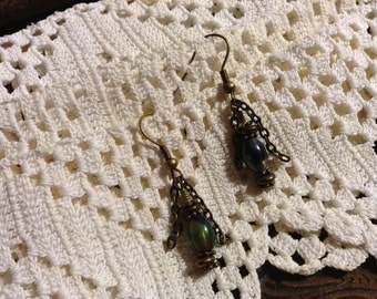 Blue and Green Glass Bead with Chain Dangle Earrings