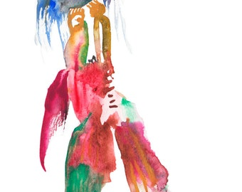 Whimsical Abstract Watercolor Painting featuring a Colorful Surreal Figure Illustration - 142
