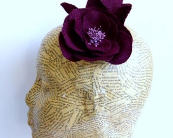 Felt Fabric Flower -  Burgundy
