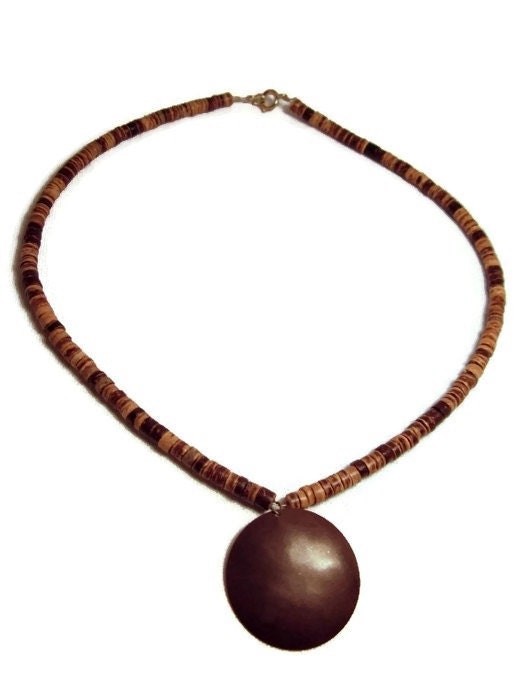coconut shell necklace with antique copper by splendidstones
