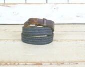 Vintage dark blue/grey/green woven wool leather belt/skinny woven belt/boho hippie belt