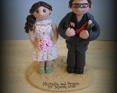 Wedding Cake Topper, Custom Wedding Topper, Bride and Groom, Personalized, Polymer Clay, Keepsake