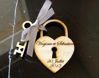 125 Heart and Key Wedding Favors Skeleton Key