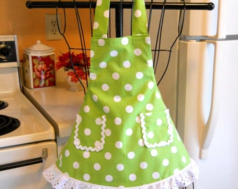 Little Girls Retro Style Full Apron in Lime Green Polka Dots