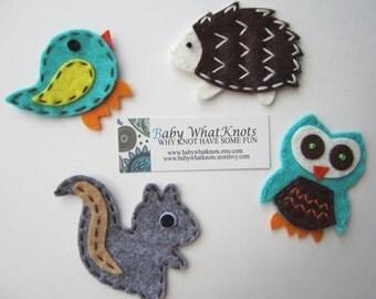Animal Magnet Set, Bird, Owl, Squirrel, Hedgehog Magnets, Treat Bag, Party Favor, Back to School, magset03