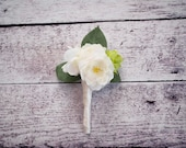 Peony and Hops Wedding Boutonniere - Silk Wedding Boutonniere