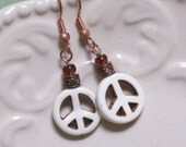 Peace Earrings - White peace signs, copper and dark amber glass beads