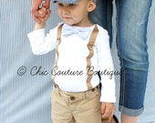 Baby Boy Bow Tie and Suspender Bodysuit. Baby Blue Seersucker Wedding, 1st First Birthday Outfit Tan Suspenders Cake Smash, Back to School