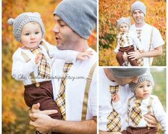 Father's Day Tie and Suspenders Dad & Baby Boy Set. Father Son Plaid Tan Mustard Yellow Chocolate Brown Baby's 1st Outfit Matching Daddy Me