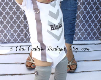 Tie and Suspenders Personalized Baby Boy Bodysuit & Leg Warmers SET. Gray Chevron or any tie. Birthday Outfit Cake Smash, Coming Home Outfit