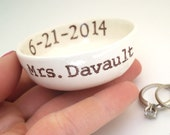 CUSTOM WEDDING GIFT idea wedding ring pillow bridal shower gift mrs ring dish hers ring holder personalized names wedding date ring bowl