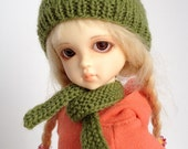 """Custom Knit Hat / Toque and Scarf for 6/7"""" head YoSD BJD - Hand Knit in colour of your choice"""
