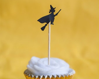 24 Witches on Brooms Halloween Party Picks - Cupcake Toppers - Food Picks