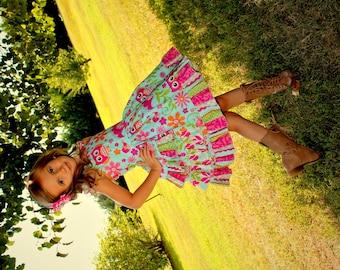 Girls Dress, Owl Dress, Party Dress, Ruffle Dress, Spring Dress, Summer Dress, Toddler Dress, Owl Party Dress, Boutique Dress