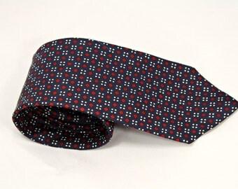 Vintage Silk Neck Tie Mens  Red White Diamonds on Navy Blue Background 4th of July Patriotic