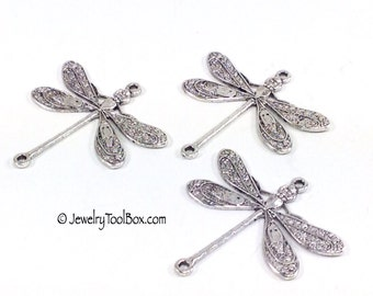 Dragonfly Pendant Charms Connector, 24x24mm, 2 Loops, Antique Silver, Large, Made in USA, Lead Free, Nickel Free, Lot Sizes up to 24, #05S