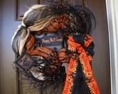 Burlap and Mesh Halloween Wreath, One-of-a-kind Handmade Halloween Wreath, Happy Halloween Front Door Wreath