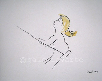 ink and watercolor drawing - girl on a swing - original - europeanstreetteam