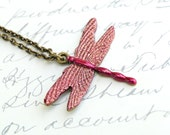 Hand Enameled Fuchsia Dragonfly Necklace