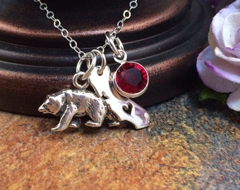 California Necklace, California Bear Necklace, California Birthstone Necklace, California Bear, California Republic