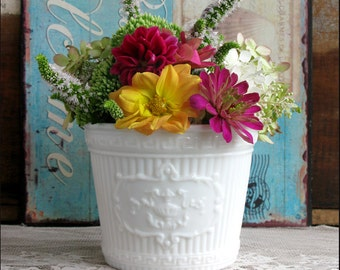 Vintage Milk Glass Planter/ My Milk Glass Powder Room/ Wedding Centerpiece