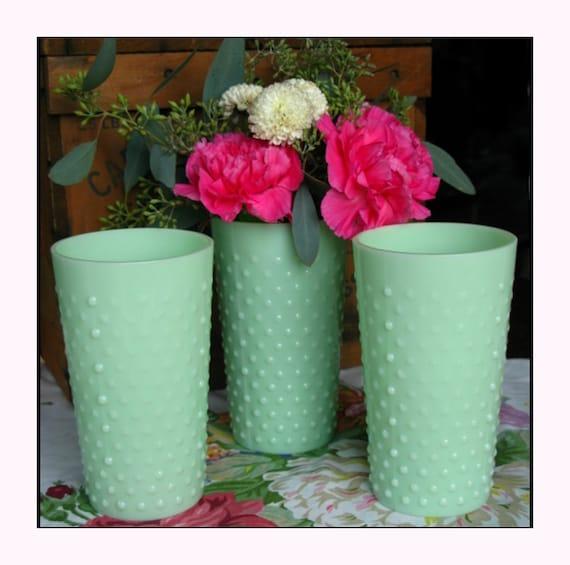 Vintage jadeite hobnail wedding vases shabby by shiftingyears
