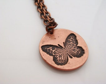 Copper Butterfly Necklace Copper Necklace