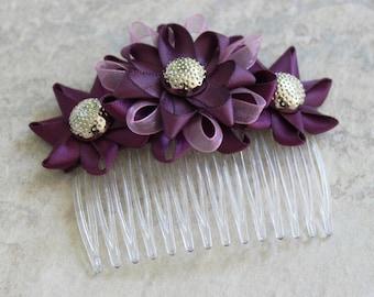 Plum Hair Accessories, Plum Wedding Hair Comb, Plum Bridesmaid, Purple Hair Accessories, Purple Wedding Flowers, Plum Flower Hair Comb