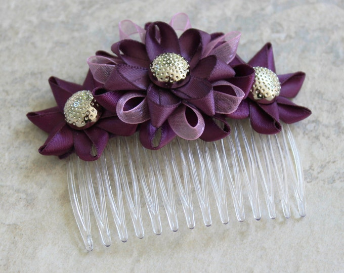 Plum Hair Accessories, Plum Wedding Hair Comb, Plum Bridesmaid, Purple Hair Accessories, Purple Wedding Flowers, Plum Flower Hair Comb