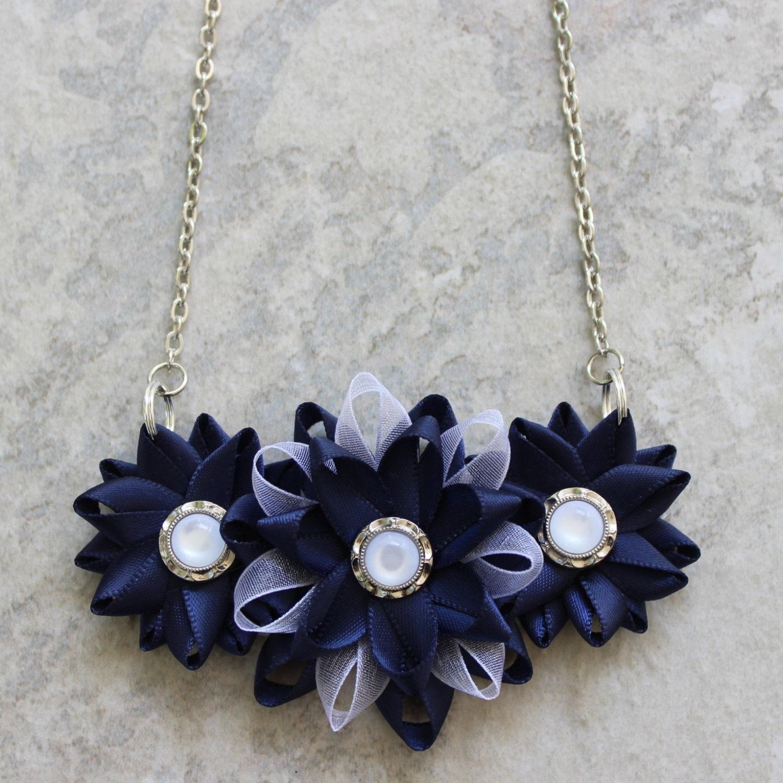 navy necklace navy blue necklace navy and by petalperceptions