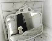 G L A M  ...White Mirror Ornate Pediment Shabby Chic French Cottage Nordic Nursery