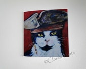 Captain Jack Cat Card Cat Greeting From my Original Painting Pirate Steampunk