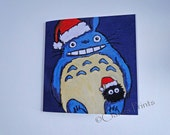 Christmas Totoro Art My Neighbour Steampunk Greeting Card From my Original Painting
