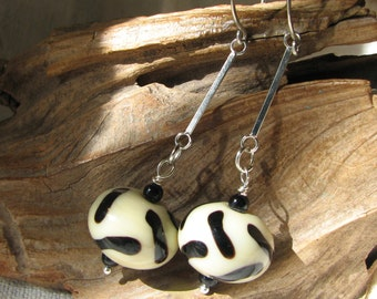 classy black and white dangle earrings