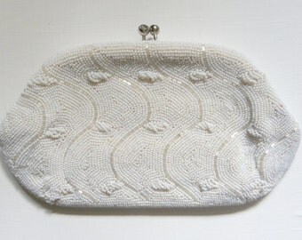 Vintage Beaded Kisslock Clutch - Ivory Beads, Wave and Bobble Pattern - Made by Debbie in Japan - Mirror and Comb included