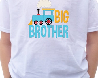 BIG BROTHER Train Shirt or Bodysuit little blue choo choo train tshirt - Locomotive t-shirt - Train Big Brother Shirt - Sibling Shirt -