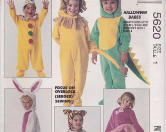 CLEARANCE Lion Bunny Clown Cat Mouse Costume Pattern Toddler Size 1 Chest 20 Uncut 1991  McCalls 5620
