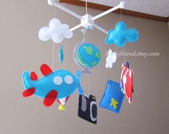 Travel theme baby Mobile - travel crib mobile - passport and camera nursery mobile - felt hot air ballon mobile - pick your colors