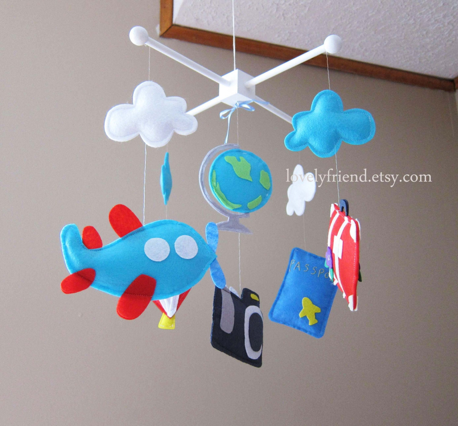 Travel theme baby mobile travel crib mobile by lovelyfriend