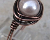 Pink Glass Pearl Copper Ring