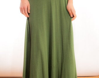 Ultra Maxi Skirt in Olive Green Bamboo Jersey Knit / Foldover Waistband / Made to Order