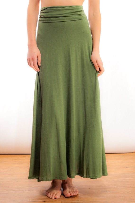 ultra maxi skirt in olive green bamboo jersey knit by