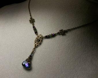 Purple Blue Green Crystal Pendant Victorian Choker, Heliotrope Edwardian Drop Necklace, Antiqued Brass Filigree, Titanic Temptations Jewelry
