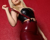 Rubber Latex Basics High Waisted Mini Skirt with Braces