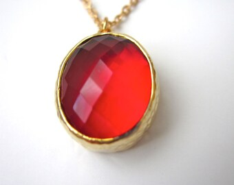 Strawberry Red Framed Pendant Necklace